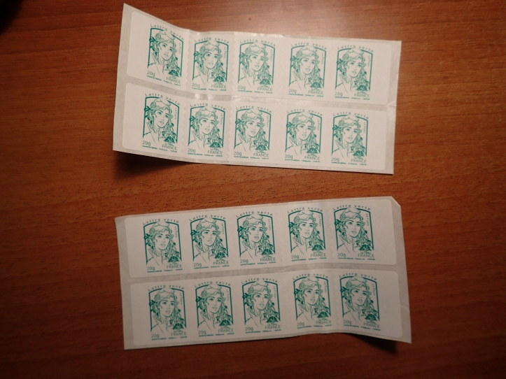 "My collection of ""green"" stamps. They don't even look very official if you ask me."
