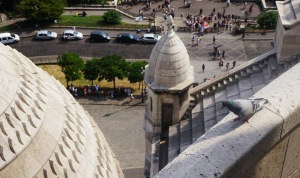 See how the pigeon is looking down on all the lowly humans from his lofty perch at Sacre Coeur?