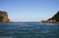 Cruising out to the Heads, the entrance to the Knysna lagoon from the Indian Ocean
