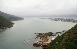 "Looking back on the town of Knysna from the top of the ""Heads"""