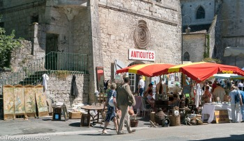 An antiques brocante in Issigeac in the Perigord region of southern France.